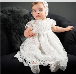 Newborn Baby Girl White Christening/Birthday/Prom Lace Tutu Party Princess Dress