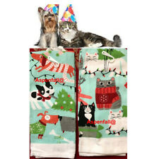 2 Happy Party Kitty & Party Puppy Kitchen Dish Towels (NWT ~ Cotton