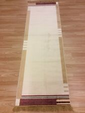 XL Large Runner Silk Feel  Modern Plain Cream with Gold Red 50% OFF 68x225cm 2x7