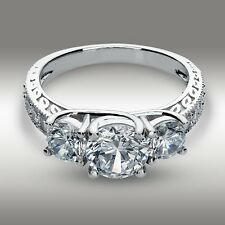 2.61 Ct Round cut Three Stone Engagement Ring 14K White Gold Vintage Classic