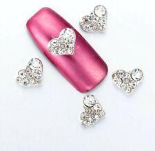 10 x  Hearts DIY 3D Nail Art Decoration Silver Alloy Rhinestone Gems Diamante