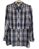 J. Jill Womens Shirt Plaid Pintucked Tunic Button Front Long Sleeve Size L