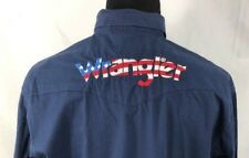 WRANGLER Spell Out WESTERN SHIRT Men's Large Embroidered Red White & Blue