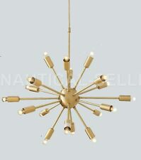 Satin Brass Mid century Sputnik Chandelier Light Fixture 18 Lights Arms
