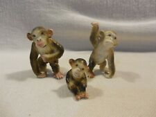 New ListingVintage Bradley Japan Bone China Miniature Monkey Family Figurines Set of 3