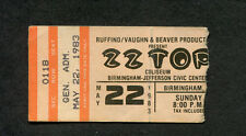 1983 Zz Top Sammy Hagar Concert Ticket Stub Birmingham Al Eliminator Tour