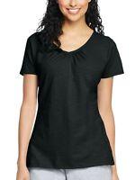 Hanes Women's Slub Jersey Shirred V-Neck T Shirt- Black, Size Medium