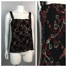 Vintage 1980s Black Sheer Metallic Floral Sleeveless Slinky Tank Top Blouse S
