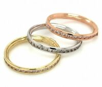 10K Solid Yellow Gold Eternity Band Stackable Ring Endless Wedding Band 0.20 CT