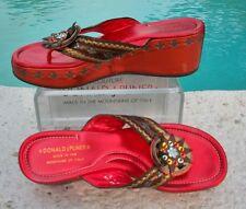 Donald Pliner Couture Metallic Leather Beaded Peace Wedge Thong Shoe $345 NIB