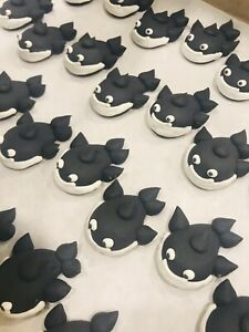 24 Icing Black Whale Cupcake Toppers Birthday Party Zoo Antarctic Marine Cake