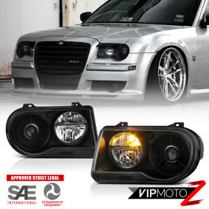 "For 05-10 Chrysler 300C ""SRT STYLE"" Black Projector Headlight Assembly L+R Side"