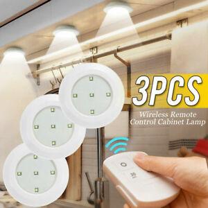 3Pcs LED Cupboard Lighting Battery Kitchen Under Cabinet Lights Remote Control
