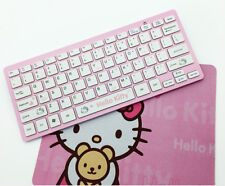 Slim Fashion Pink Hello Cat Cartoon Wireless Keyboard for TV/PC with Mouse Pad