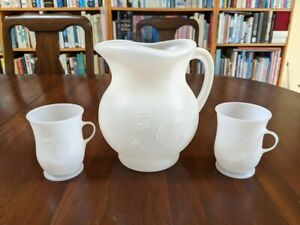 Kool Aid Pitcher and 2 Cups (1980s) made of space-age plastic! Oh YEAH!