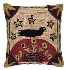 Folk Crow Hooked Pillow Cover by Park Designs, 18x18, Hand-Crafted, Prim Country