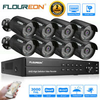 8CH 1080P HD DVR 3000TVL 2MP Onvif Outdoor CCTV Home Security Camera System Kit