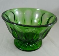 Vintage Dark Green Pressed Glass Candy Dish Footed Compote Planter Vase Bowl
