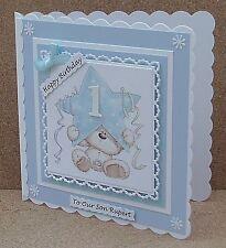 Personalised Cute Bear Birthday Card Son Grandson Godson 1st 2nd 3rd...& Verses