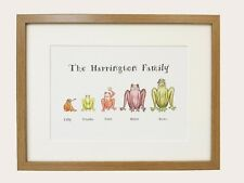 Personalised Frog Family Print A3 framed Original drawings Great Gift for Xmas