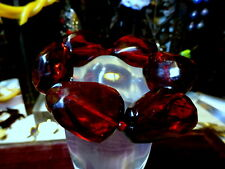 Vintage Chunky Lucite Cherry Red Faceted Beads Elasticated Bracelet