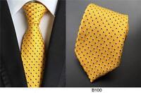 Yellow Mens Tie Black Patterned Handmade 100% Silk Wedding Necktie UK Seller