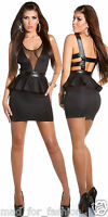 Sexy Black Backless Mini Dress with Peplum.