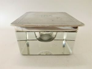 LARGE ANTIQUE HEAVY GLASS SILVER MOUNTED INKWELL / BIRMINGHAM 1930 REF 100/2