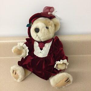 "1997 Pickford Brass Button Bear Collectibles Plush Teddy Bear Pearl 9"" EUC AR10"