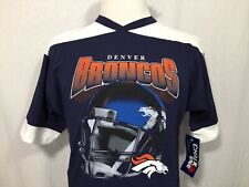 Denver Broncos NFL Football Youth XL T Shirt Blue White Chalk Line New Vtg 1990s