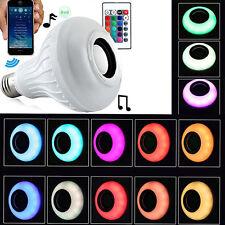 Wireless Bluetooth Speaker Bulb Light 12W LED E27 RGB Music Play Lamp Remote