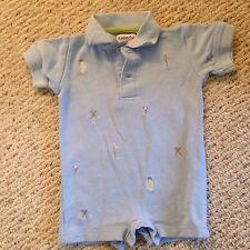 Kitestrings Blue Golf Polo Romper baby Boys 3-6 Months