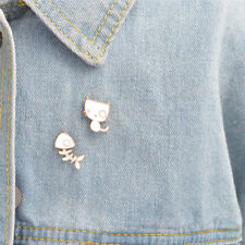 2PCS/Set Cute Cat Fish Bone Brooch Pins DIY Denim Jacket Pin Badge Jewelry GiftH