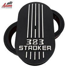 """383 STROKER - SBC Die-Cast Raised Logo - 15"""" Oval Air Cleaner Kit Black - Ansen"""
