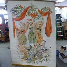 Large Vintage 12 Days Christmas Scroll Canvas Painting Dept. Store Display HUGE