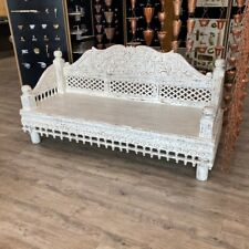 More details for solid mango wood ornate hand carved daybed lounging sofa with decorative parts