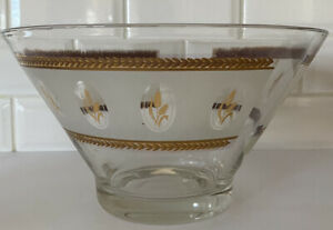 Vintage Anchor Hocking Glass Chip Bowl - Gold Wheat Leaf Design Ice