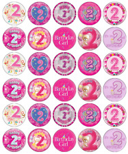 2nd Birthday Girl x 30 Cupcake Toppers Edible Wafer Paper Fairy Cake Toppers