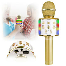 More details for km15 gold wireless bluetooth karaoke microphone with lights and speaker usb mp3