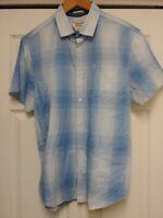 Men's Original Penguin SS Blue Plaid Casual Button Up Shirt Classic Fit L
