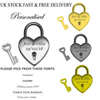 Personalised Heart Shape Bridge Pad Lock Birthday Mothers Love Gift Vincenza UK