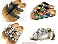 Women's Slide Buckle Open Toe Cork Footbed Platform Flip Flop Shoes Sandals Hot