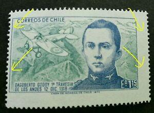 [SJ] Chile Dargoberto Godoy Airplane 1971 Aviation (stamp MNH *error *perf shift
