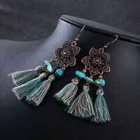 Vintage Women Bohemian Flowers Earrings Long Tassel Fringe Boho Dangle Earrings