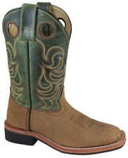 Kid'S Jesse Brown Distress/Green Crackle Leather Cowboy Kids Boot