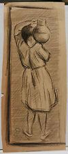 """Dessin Original Fusain PAUL COUVREUR - Jeune Femme """"L'eau"""" - 1930 - PC94"""