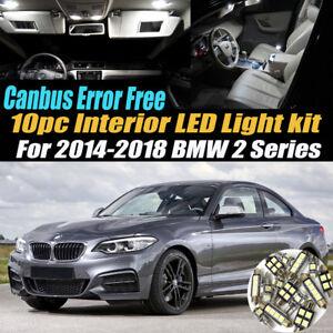 10Pc Error Free Interior LED Super White Light Kit for 2014-2018 BMW 2 Series