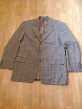 GREAT PIERRE BALMAIN WOOL & SILK BROWN TARTAN BLAZER UK SIZE 44 NWOT