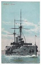 British Formidable-Class Battleship H.M.S. Queen original postcard World War 1
