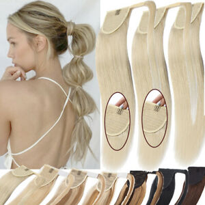 Real Thick Ponytail Clip In Human Hair Extensions WRAP On Pony Tail Hairpiece US